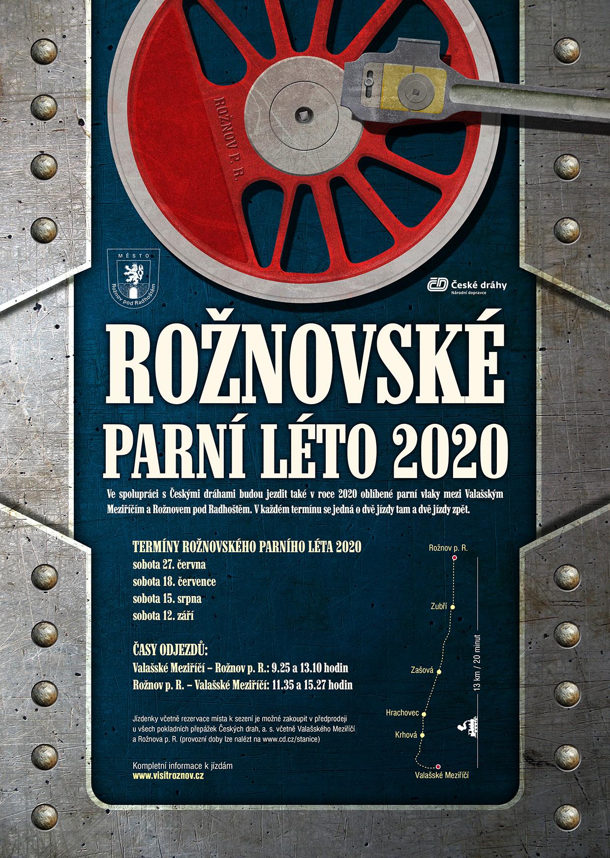 Rožnovské parní léto 2020 plakát
